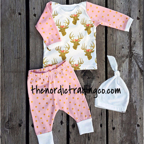 097fdb7b6f4 Sale Gold Dots Deer Floral Antlers Baby Girl Newborn 3 pc. Gift Set Infant 0  to