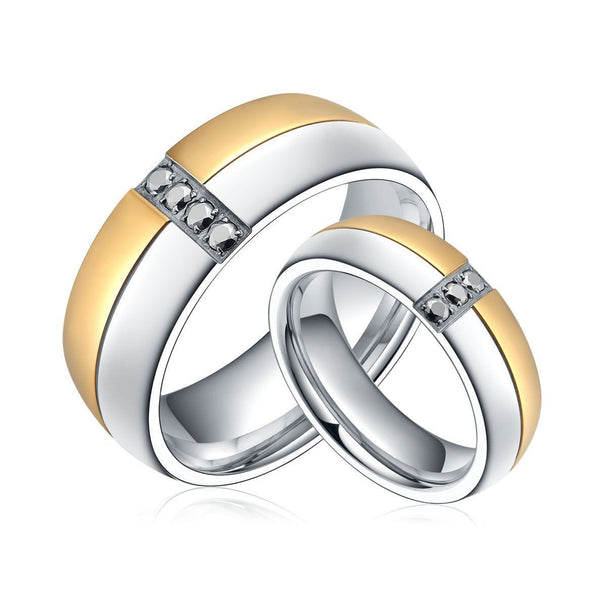Sz. 6-13 His & Hers Wedding / Engagement Bands both rings included Two Tone Yellow Gold & Silver w/ Inset CZ Men's Women's Wedding Jewelry