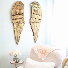 Perfect Nursery Accents Gold Angel Wings Angelic Baby Gifts Infant Little Girls Room Home Interior Design Rustic Victorian