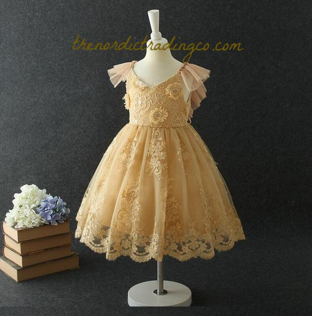 Golden Yellow Mustard Flower Girl's Dress Tulle Flutter Sleeves Vintage Lace & Rosettes Gold Pearls Girls Dresses Toddlers Kids 2T to 7 Children's Children Party