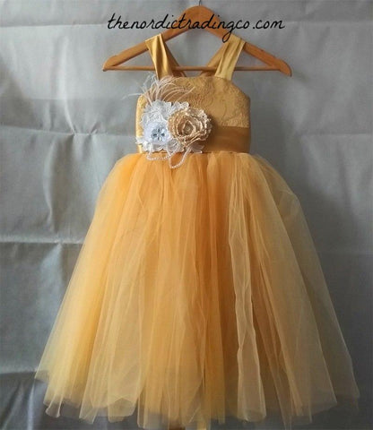 Yellow Flower Girl Sunflower Girl's Dresses Rustic Glam Corset Back Vintage Dress Gown Lace Bodice Flower Sash Toddler to Tween Girls Gold Gowns
