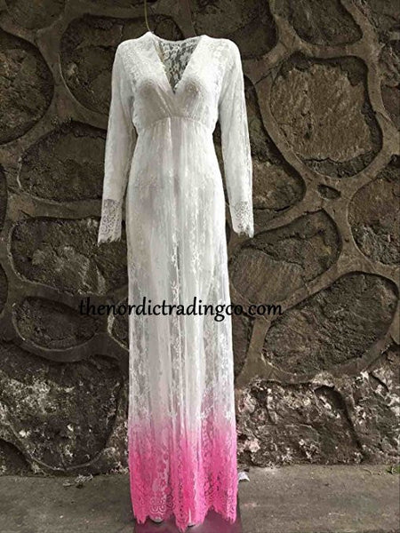Mom to Be Maternity Portrait Victorian Lace Gown Long Sleeves Gradient Pink Color Hem Baby Bump Photo Prop Heirloom Gift Baby Shower Gifts Mom to be Mommy