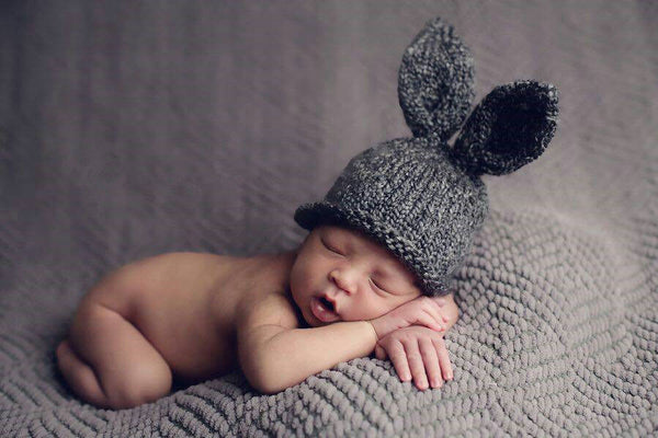 Cute!  Newborn Baby Bunny Ears in Gray Grey Handmade Crochet Knit Infant Beanie Hat Rustic Easter Photography Prop Shower Gift Bunny Rabbit