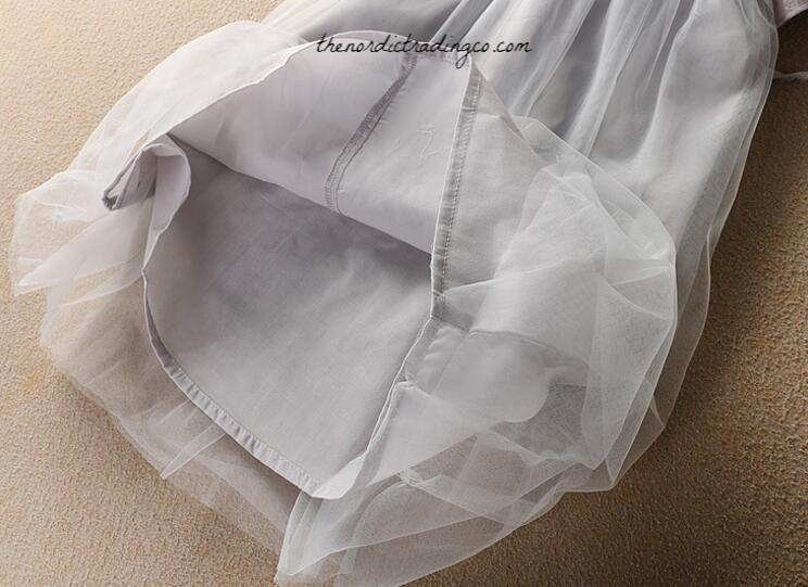 a354a8899cf ... Platinum Gray Tulle Girls Flower Girl Dress Special Occasion Dresses  Flutter Sleeve Silver Embroidery