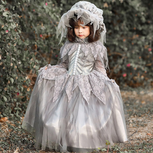 Ghost Bride Girls Halloween Costume Toddler Child Kids Girl Grey Long Dress Granny Cap Hat Gothic Victorian  Gown Dresses Costumes Play Theater
