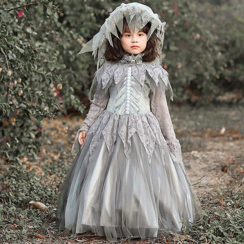 Gray Victorian Old Women Ghost / Bride Girls Kid Halloween Costume Toddler Childrens Dress Granny Hat Dead Cat Lady Costumes Child Girl Gray Gowns