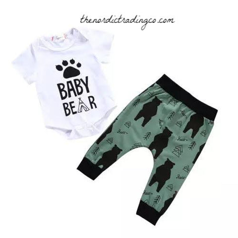 Baby Bear Gift Set Pants Boy's Olive Black Bears Baby Shower Gift Ideas Infant Newborn 0/6 mo Boys Outfits Gifts Bottoms Clothes Bodysuit Onesie