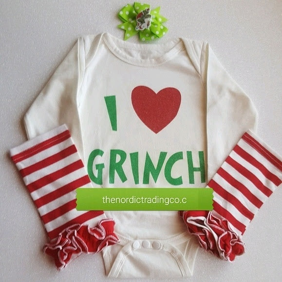 70999d8f1b1e I Love the Grinch Big Red Heart Leg Warmers Hat /Baby Girl Christmas ...