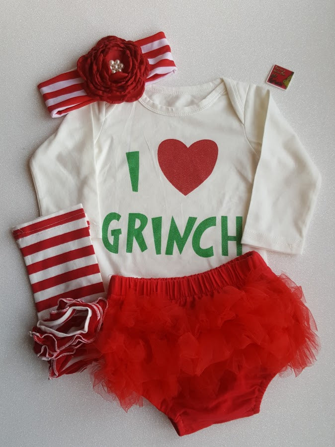 6c1f6bd18be0 ... I Love the Grinch Big Red Heart Leg Warmers Hat /Baby Girl Christmas  Set 3