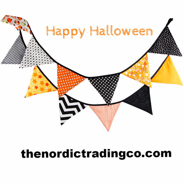 Fall / Halloween Fabric Triangle Flag Garland Different Patterns Create a Festive Feel Home Decor Party Decorations Celebrations 6' Long