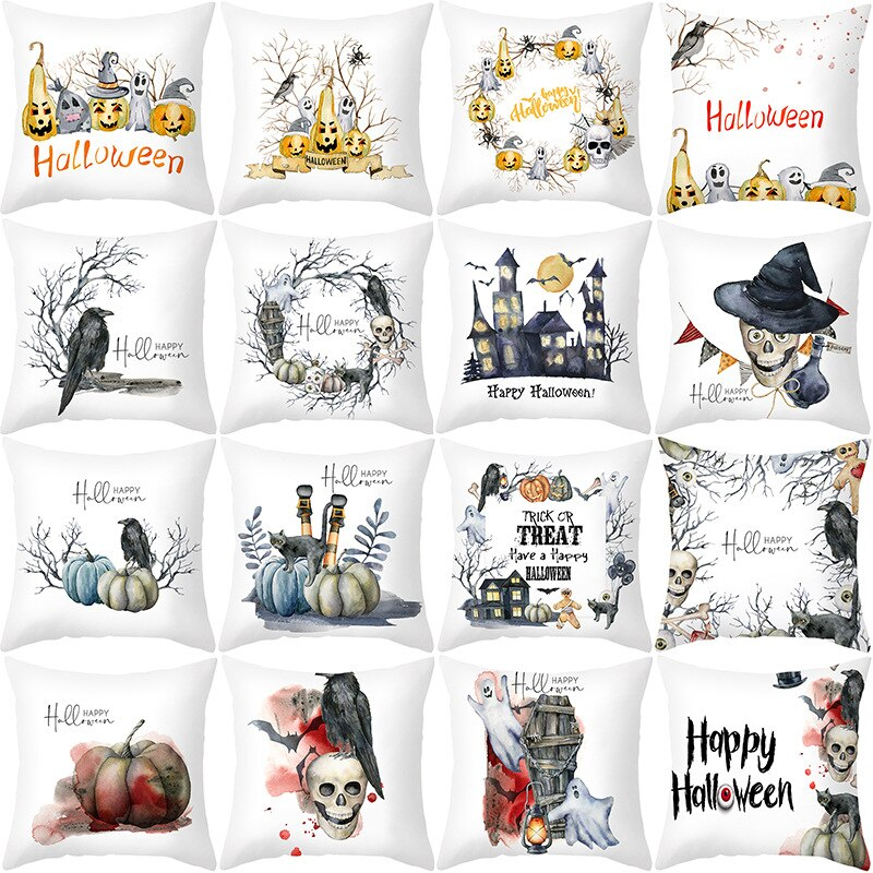 Best 2020 Halloween Pillows Rustic Farmhouse Pillow Covers Incredible Watercolor Designs Scarry to Sweet Fall Colors Orange Green Black Haunted House Pumpkins Crows Rattling Skeletons & More