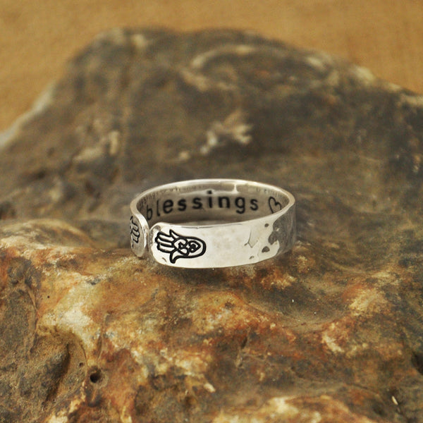 Secret Message Custom Message Personalized Inside Hammered Silver Hamsa Hands Unisex Rings Hand Ring Yoga Women's Men's Girl's Customized Monogram Jewelry