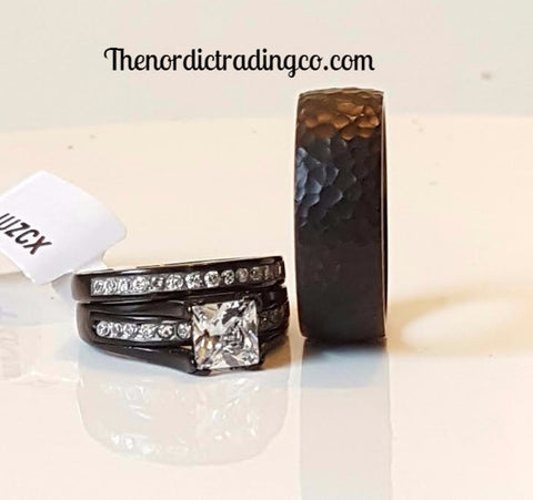 Hammered Titanium & Black Plated 1ct. Brilliant CZ Set Wedding Bands Engagement Ring His Hers Couples Wedding Jewelry