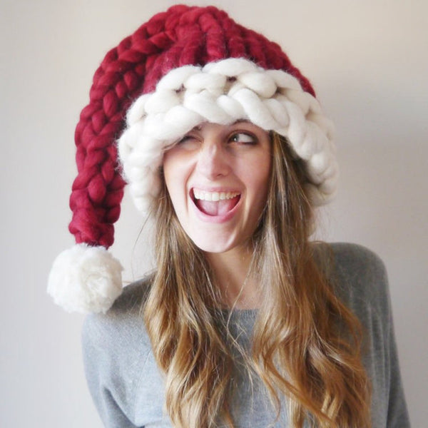 New Item! Hand Knit Thick Chunky Red White Christmas Santa Hat Trending Fun Style Adult Size Women's Holiday Photo Prop Outerwear Accessories Tween to Adult Ladies Girls Juniors