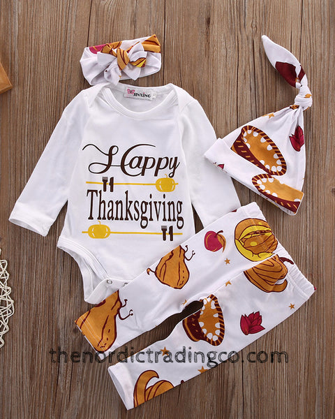 Baby's Happy First Thanksgiving 4 pc Set Boy Girl Unisex Holiday Clothes Infant Pumpkin Pie Turkey's Fall NB - 6mo. Baby Shower Gifts USA
