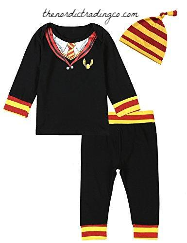 Boy's Harry Potter Hogwarts School Uniform Outfit 3 pc Top Pants Hat Baby Boy Shower Gifts Infant Boys Outfits 0/6 mo Boys' Clothes Sets Kids Clothing