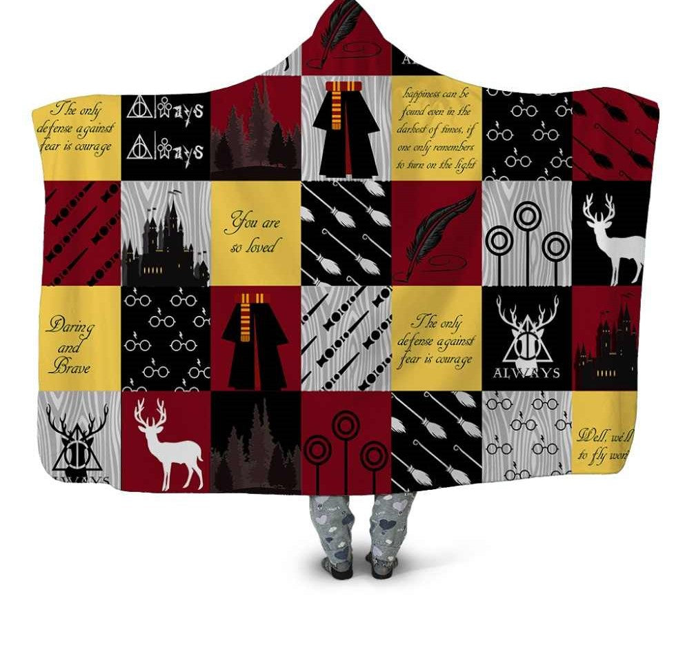 Harry Potter Inspired Sherpa Lined Throw Blankets / Hooded Snuggle Blanket Christmas Birthday Gifts Boys Girls Adults Teens Tweens Kids