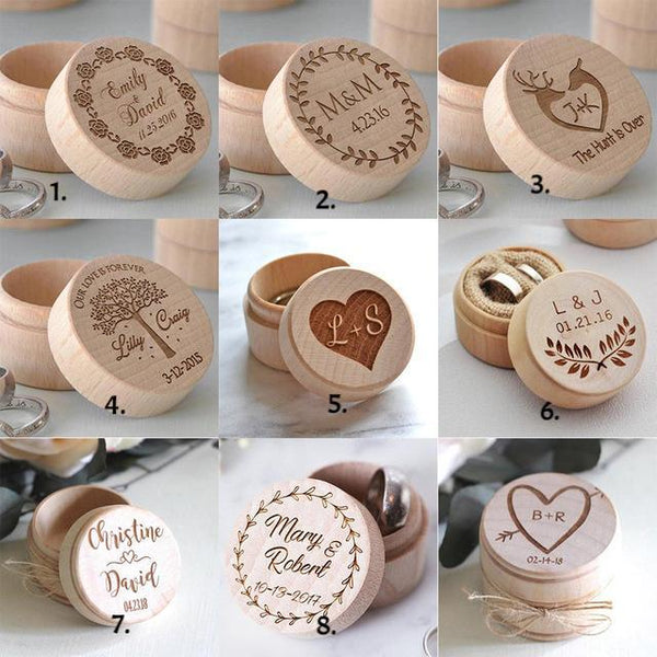 Natural Wood Ring Box w/wo Engraving Heart Wooden Jewelry Keepsake Women's Men's Rings Gift Boxes Custom Customized Personalized Gifts
