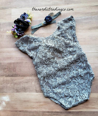 Newborn Baby Girl's Heather / Purple Gray Lace Satin Bow & Headband 2 pc Vintage Style Infant Photo Prop Baby Shower Gifts Infant Girl Sets Photography Pictures