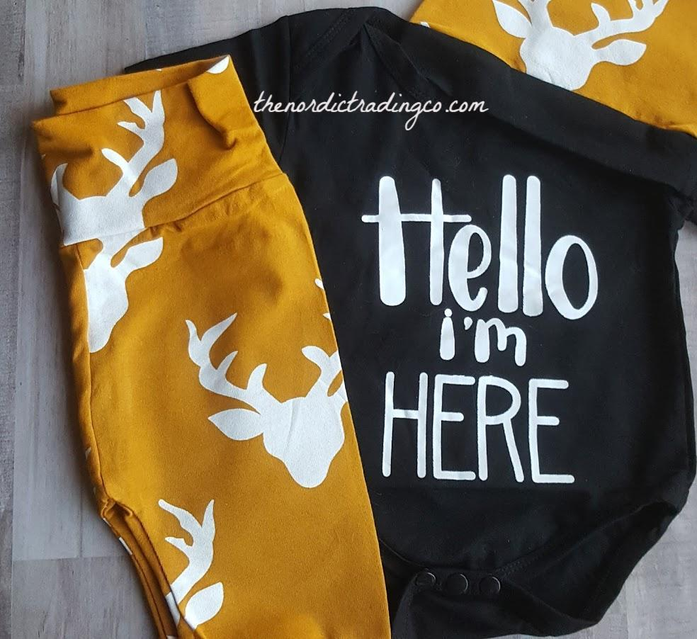 Hello I'm Here Infant Boy Nordic Set Black Onesie Top Beanie Hat Deer Silhouette Long Bottoms Pants 0/6 mo