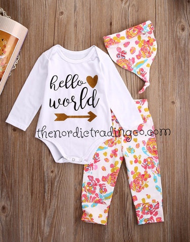 Baby Girls Set 3 pc Floral Outfit Onesie Bodysuit HELLO WORLD Shirt Babies Beanie Baby Shower Gifts Nordic Infant Sets 0-6mo. Clothes Fall Outfits
