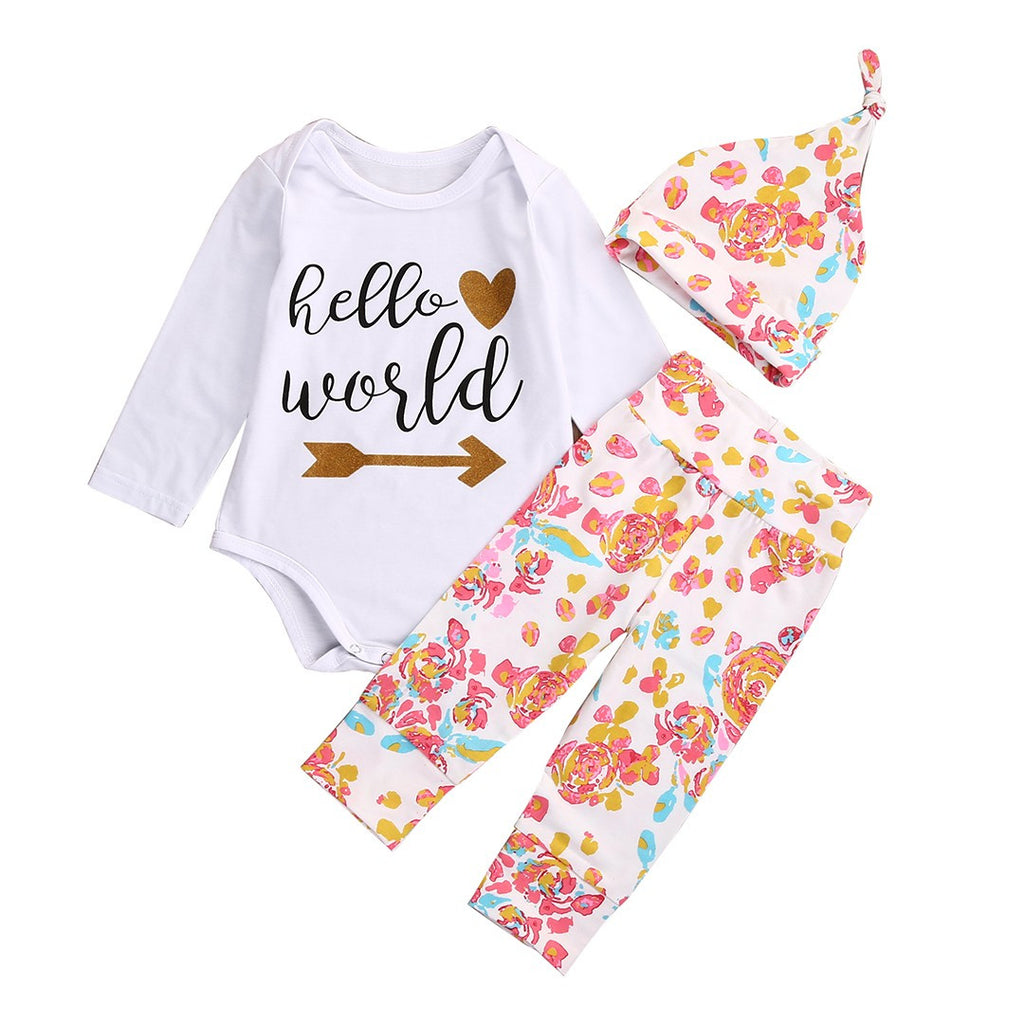 a1ee7af9d ... Baby Girls Set 3 pc Floral Outfit Onesie Bodysuit HELLO WORLD Shirt  Babies Beanie Baby Shower ...