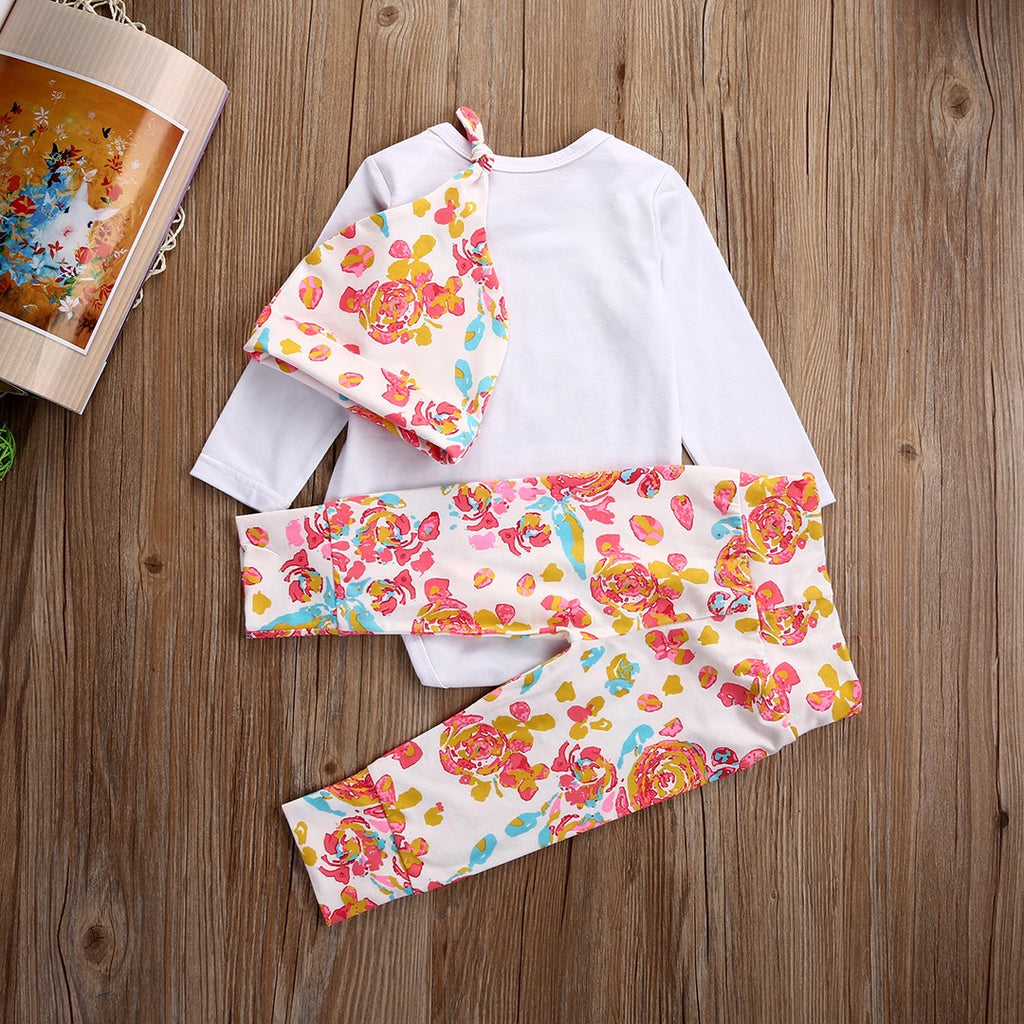 aad597dad ... Baby Girls Set 3 pc Floral Outfit Onesie Bodysuit HELLO WORLD Shirt  Babies Beanie Baby Shower