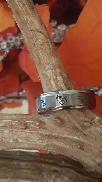 Her Buck Deer His Doe Couples Wedding Engagement Rings Set Bride Grooms Band  Engraved inside Hunters Ring Bangs