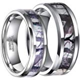 Birch Tree Camo Pattern Couples 2 Ring Set Tungsten Carbide Men's Women's Wedding Engagement Bands