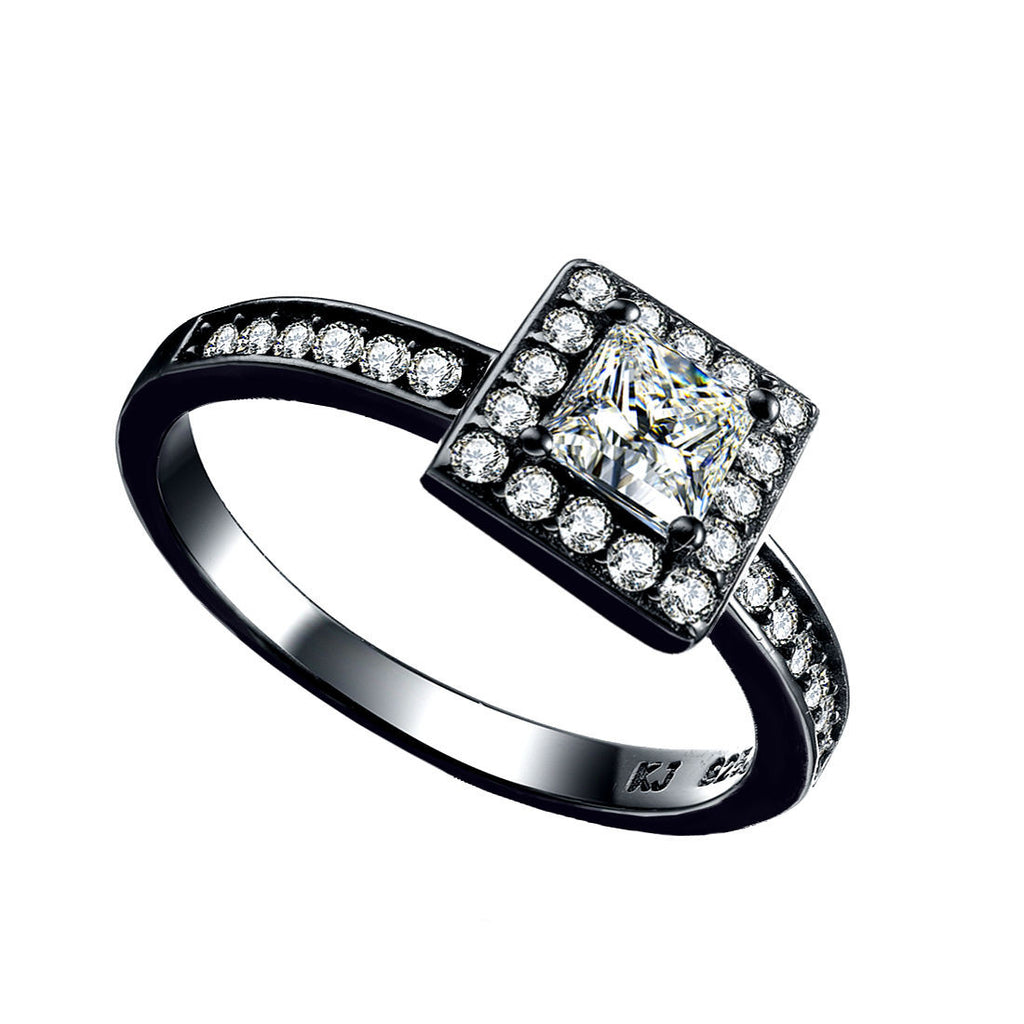 diamond ring barkev engagement front s black rings