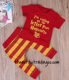 I'm Waiting On My Letter From Hogwarts New Baby Sets 2 pc. SS Top Cuffed Pants Boys Infant Harry Potter Insp. Boy Kids Newborn Gifts Clothes