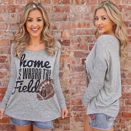 Home Is Where The Field Is  Women's Loose Fit T Shirt Gray Med/Large or XL Gifts for Her Football Mom Top Clothes Clothing Trendy