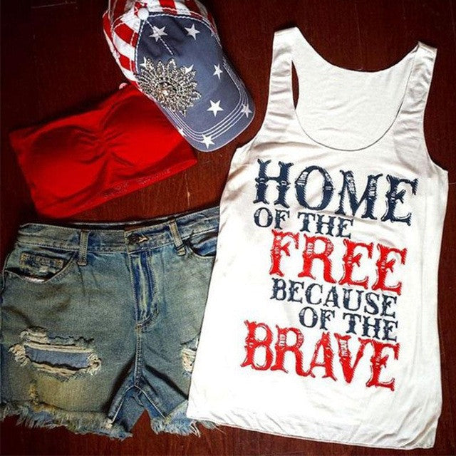 Home of the Free Because of the Brave Woman's July 4th Top Pop Tee Shirt Clothing Clothes M L XL USA seller & shipper
