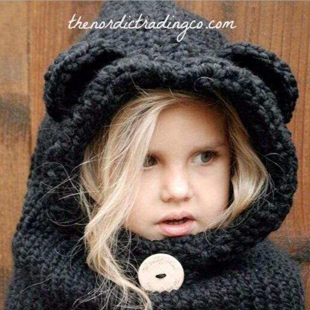 Black Bear Ears Cowl Hood Hand Made Crochet Gift Girl's Outerwear Hats Hoods Kids Girl's Accessories Christmas Gifts Kid Tweens Toddlers Small Medium