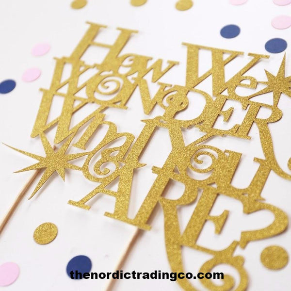 How We Wonder What You Are ?? Gender Reveal Cake Topper Boy Girl Party Supplies Laser Cut Gold Glitter
