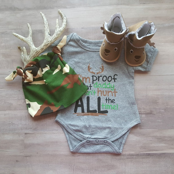 Newborn Boys Nordic Gift Outfit Proof Daddy Doesn't Hunt All The Time Bodysuit Onesie Camo Beanie Hat Fur Lined Deer Booties Newborn Boy Shower Gift Ideas Hats Shoes Outfits Hunt Theme Sets Boy's