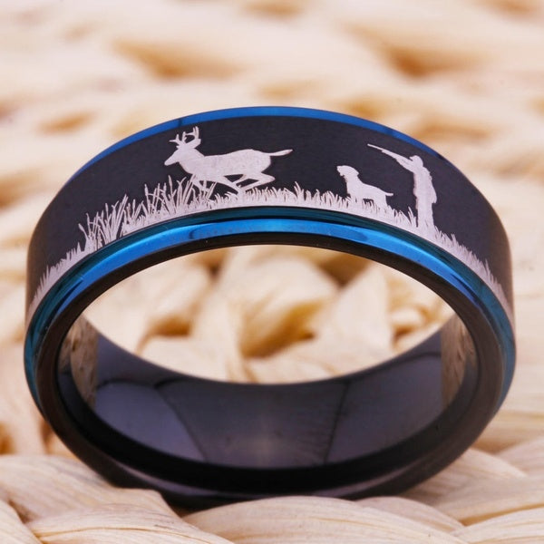 Men's Bird Dog Hunting Ring Hunters Wedding Rings / Scenic Band Black Tungsten Carbide Mens Jewelry Gifts for Him Hunt Buck Deer Birds Gold or Blue Edge