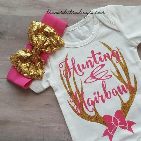 Hunting & Hair Bows Newborn Girl's Onesie Bodysuit Plus Gold Sequin Bow Headband Girls Baby Shower Gifts Deer Hunting Nordic Infant 0/3 Gift Sets Girl Clothes