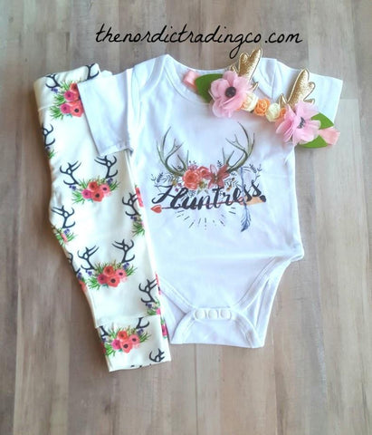 28b6b53fb63 Huntress Nordic Girl s Outfit Onesie Bodysuit Bottoms Gold Antlers Headband Girls  0 6 mo Baby