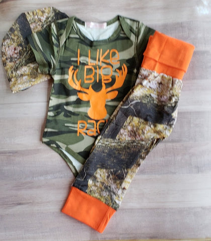 Baby Boy Camo Newborn Set I Like Big Racks Body Suit Onesie Deer Antlers Beanie Hat Long Pant 0-6mo Baby Shower Gift Sets Infant Welcome Home Photo Prop Daddy Gifts Boy's Boys Boys' Big Racks