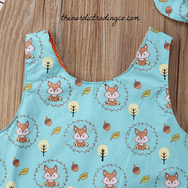 Infant Girl's Fox Outfit 2pc Newborn Reversible Top & Ruffled Diaper Cover Pants Baby Shower Gift Ideas Sisters Outfits Girl Clothing Sets Gifts