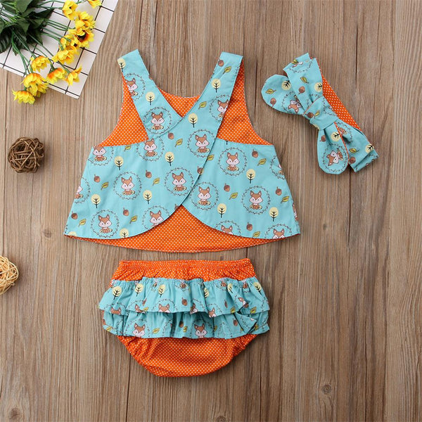 Baby Girl's Infant Fox Set Blue Turquoise Orange Foxes Reversible Cross Back Top Ruffle Diaper Cover Headband Baby Shower Gift Idea