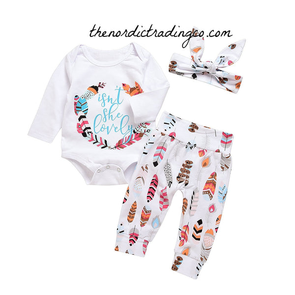 Isn't She Lovely Infant Girl's Nordic Gift Set 3 pc Outfit Onesie Bodysuit Feathers Pants LS Top Headband Girls Boho Baby Shower Gift Sets Feather