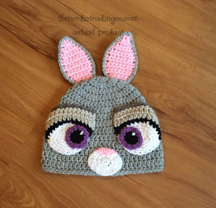 Judy Hopps Handmade Crochet Hat Infant Baby Photo Prop / Halloween Costume Size XS 100% Cotton Zootopia