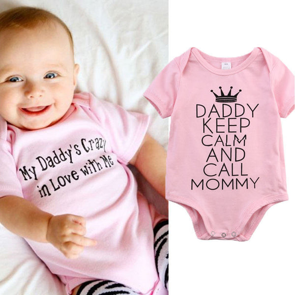 Keep Calm Daddy  and Call Mommy  Funny Newborn Baby Girl Onesie Pink Romper Infant Clothing Baby Shower Gifts