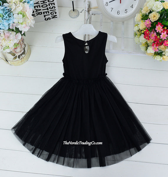 Black Kitty Cat Face Little Girls Dress size 4, 5 Meowza! Tutu Fit & Flare Skirting Swiss Dot Shoulders Button Keyhole Back Toddler Girl's Clothing Dresses Apparel