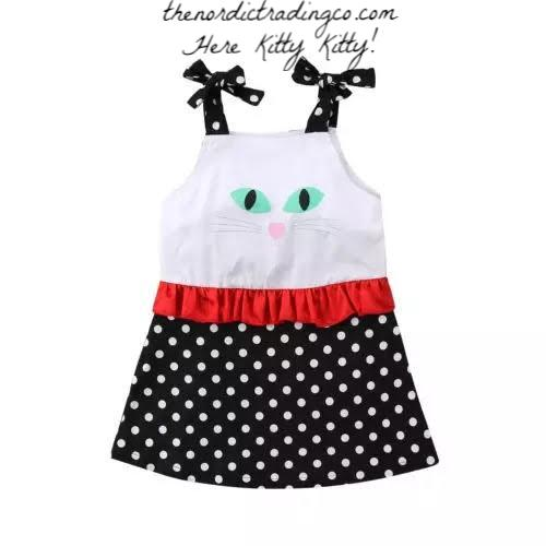 Kitty Cat Face Toddler Baby Girl's Sun Dress Headband Bow Set Polka Dots Girls Casual Dresses Kids Clothing 2T 3 4 5 Girls' Clothing Accessories Gifts