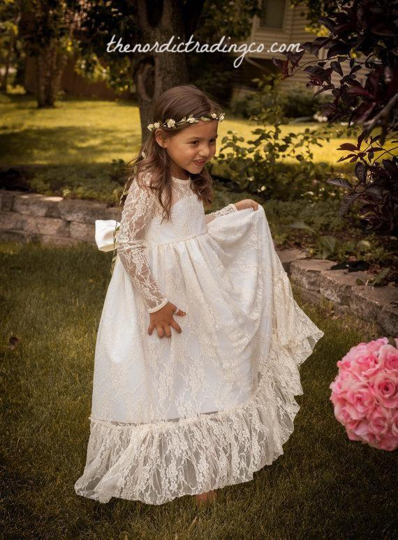 Best Seller Soft Off White Long Flower Girl Dress Rustic Country Forest Weddings Large Bow Girls Dresses Kids Clothing
