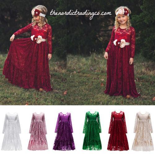 7658a89f3 Rustic Red Long Lace Flower Girl Dress Big Ruffled Hem Girl's Maroon M –  thenordictradingco.com
