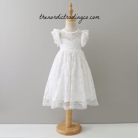 a2152928a Sweet White Lace Girl's Maxi Dress Sleeveless Flutter Sleeves Keyhole Back  Bow Flower Girl Dresses Girls